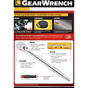 GearWrench 81360 84T Full Polish Long Handle Ratchet, 1/2-Inch