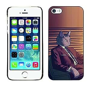 KOKO CASE / Apple Iphone 5 / 5S / gato traje de arte personaje de dibujos animados gris felino / Delgado Negro Plástico caso cubierta Shell Armor Funda Case Cover