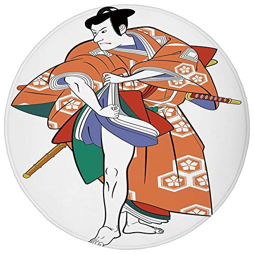 Round Rug Mat Carpet,Kabuki Mask Decoration,Kabuki Actor with Traditional Costume Historic Edo Era Drama Culture Decorative,Multicolor,Flannel Microfiber Non-slip Soft Absorbent,for Kitchen Floor Bath ()