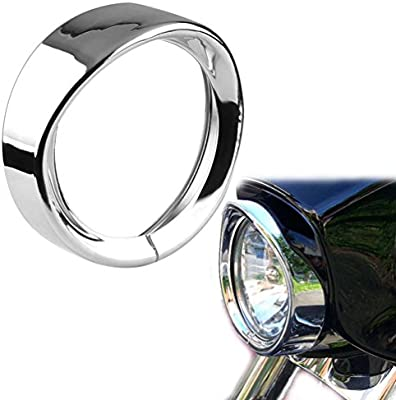 Road King 94-14 FLHR 86-14-FLST 1PC 12-14 FLD 7 Motorcycle Head Lamp Trim Rings Visor Type Decorate Ring Fit Harley Davidson 83-13 Touring Bikes ROCCS 7Inch Harley Headlight Chrome Ring