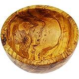 In legno di ulivo ciotola per insalata/frutta, grana naturale