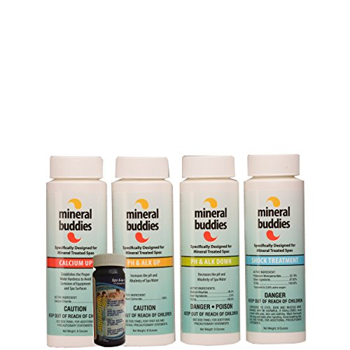 Mineral Buddies 4 Pack Hot Tub Spa Water Care Treatment Refill Kit - Free Test Strips Included