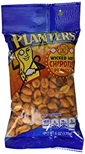 Planters Flavored Peanuts, Chipotle, 6 Ounce Bag (Pack of 12)