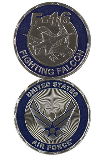 United States US Air Force Military F-16 Fighting Falcon Plane - Good Luck Double Sided Collectible Challenge Coin ()