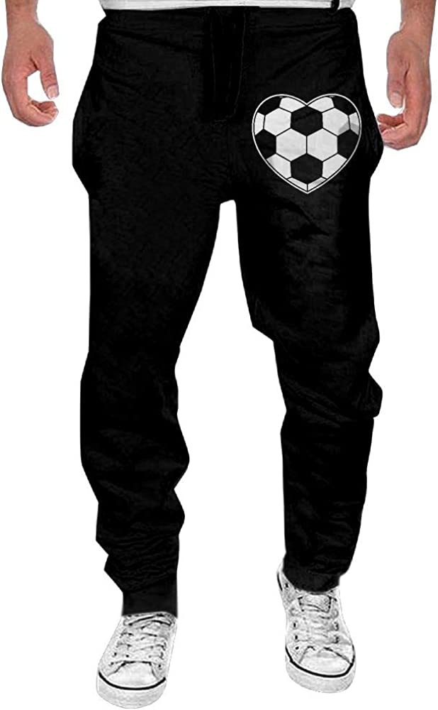Yecx-1 Mens Soccer Ball Heart Shaped Casual Cotton Jogger Pants,Gym Beam Trousers