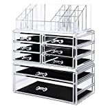 3 piece cabinet set - SONGMICS Acrylic Makeup Organizer 3 Pieces Set Cosmetic Storage Jewelry Display Case with 8 Drawers 16 Top Compartments for Brushes Pallets Powder Foundations Clear UJMU08T