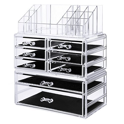 SONGMICS Acrylic Makeup Organizer 3 Pieces Set Cosmetic Stor