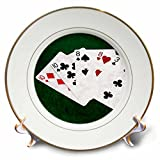3dRose Alexis Photo-Art - Poker Hands - Poker Hands Two Pairs Ten, Eight - 8 inch Porcelain Plate (cp_270527_1)