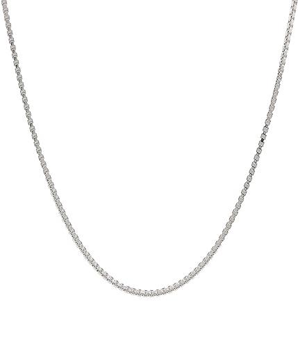 Amazon.com: ITALIANO Collar de cadena de plata de ley 925 0 ...