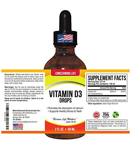 Vitamin D3 Liquid Drops Supplement - Exceptional D3 Vitamin Drops 5000 IU