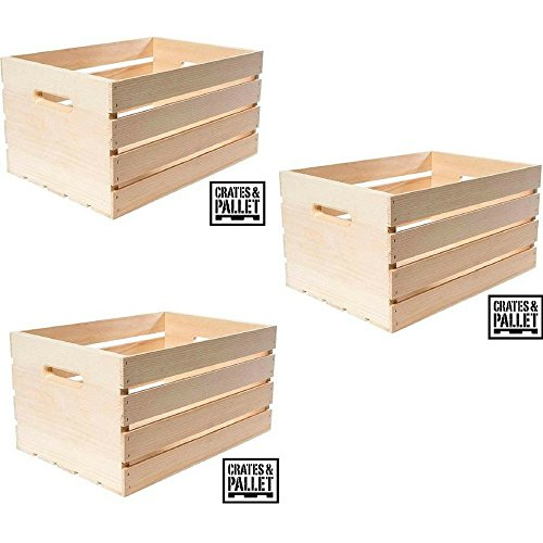 Crates and Pallet Large Wood Crate - Pack of (3)]()