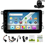 8 Inch Quad Core 2 Din Android 4.4 Kitkat Car Video Player GPS Navigation Car Stereo Radio Head Unit Radio for Vw Volkswagen Polo Golf Passat B6 B7 Jetta Tiguan Touran Amark Sharan Caddy Bora Eos Cc Scirocco Skoda Octavia Superb Rapid Yeti Fabia Hd Capacitive Touch Screen Support Steering Wheel/bluetooth/fm/am Radio