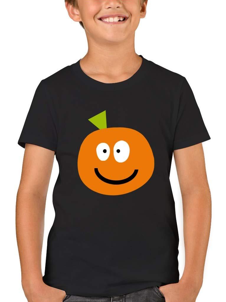 Boys Pumpkin Face Printed T Shirt Halloween Short Sleeve Top Soft Cotton Tee 5-6