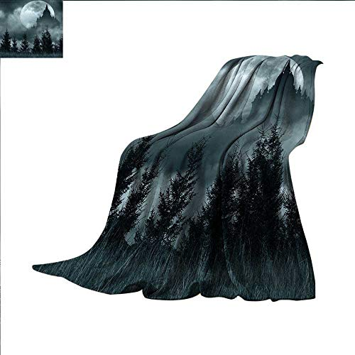 smallbeefly Halloween Super Soft Lightweight Blanket Magic Castle Silhouette Over Full Moon Night Fantasy Landscape Scary Forest Oversized Travel Throw Cover Blanket 90