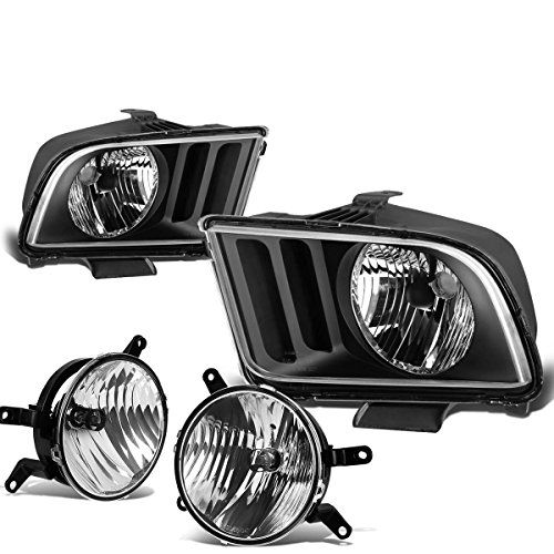 For Ford Mustang Pair of Black Housing Clear Corner Headlights + Clear Lens Fog Lights