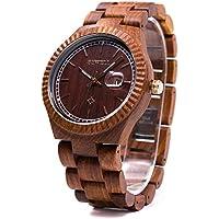 Bewell Vintage Wooden Watch Quartz Movement Lightweight Wrist Watch W112A(Red Sandalwood)