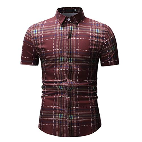 (Men's Plaid Print Short Sleeve Slim Fit Button-Down Shirts Blouse with Pocket (Red, L) )