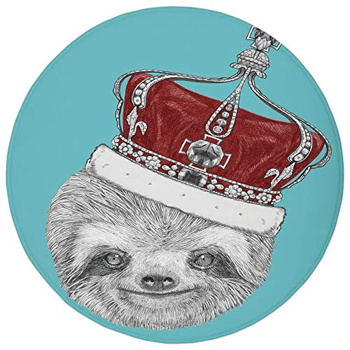 (Round Rug Mat Carpet,Sloth,Cute Hand Drawn Animal with Imperial Ancient Crown King of Laziness Theme Decorative,Aqua Burgundy Grey,Flannel Microfiber Non-slip Soft Absorbent,for Kitchen Floor Bathroom)