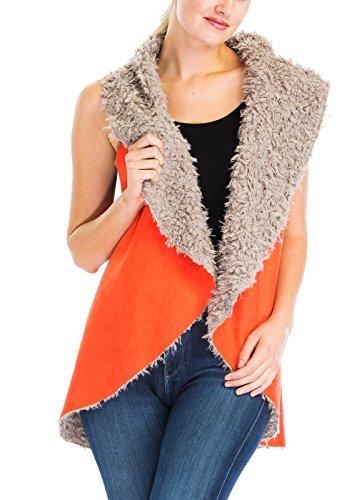 Faux Suede Fur Lined Foldover Drape Open Front Warm Vest Outer Jackets