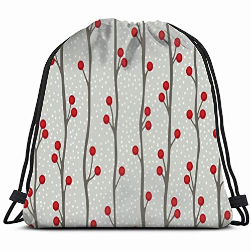 (Winter Berry Holidays Art Drawstring Backpack Sports Gym Bag for Women Men Children 14.2 x 16.9 Inch)