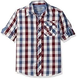 U.S. Polo Assn. Boys\' Little Boys\' Long Sleeve Single Pocket Sport Shirt, Sour Cream Winter White, 5/6