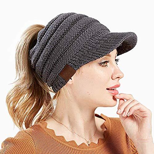 Dames Abreome Set Pcs Extensible Forme Queue Pour Gris Beanie En Filles D'hiver Bonnet Chaud Cheval De Femmes Haut Maille Hat 1 qSwzxBfq
