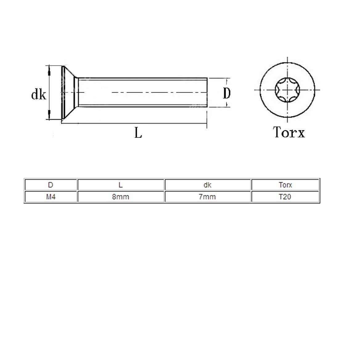 Tornillo tipo torx cabeza plana avellanado M4x8mm acero inoxidable 304 80 piezas