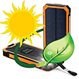 Solar Charger, Solar Power Bank by Edaisy 12000mAh External Backup Battery Pack Dual USB Cell Phone Charger with 6 LED Light Carabiner Compass Portable for Emergency Outdoor Camping Travel (Orange)