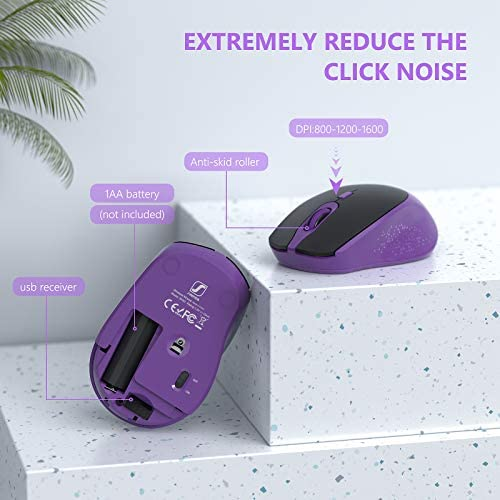 WIRELESS KEYBOARD AND MOUSE - KEYBOARD WITH PHONE HOLDER, SEENDA 2.4GHZ SILENT USB WIRELESS KEYBOARD MOUSE COMBO, FULL-SIZE KEYBOARD AND MOUSE FOR COMPUTER, DESKTOP AND LAPTOP (PURPLE)