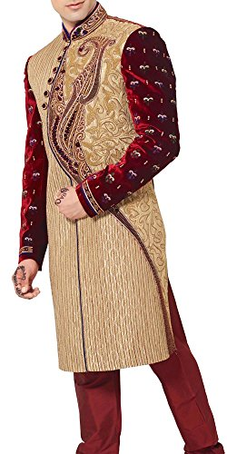 INMONARCH Mens Angrakha Style Wedding Indo Western IN446 Custom-made Beige