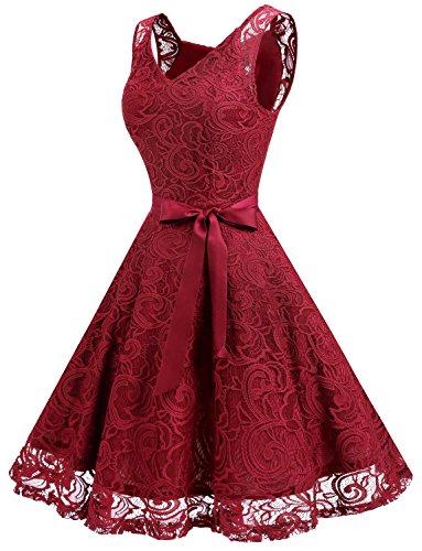Elegante Encaje Oscuro Con Lazo Madrina Mujer Sin Vestido Dressystar De Para Mangas Rojo Fietsa Corto FfqZnxE