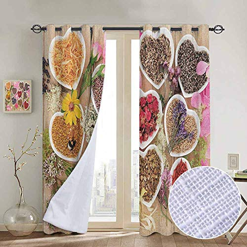 - NUOMANAN Blackout Curtains 2 Panels Floral,Healing Herbs Heart Shaped Bowls Flower Petals on Wooden Planks Print Healthcare, Multicolor,for Room Darkening Panels for Living Room, Bedroom 120