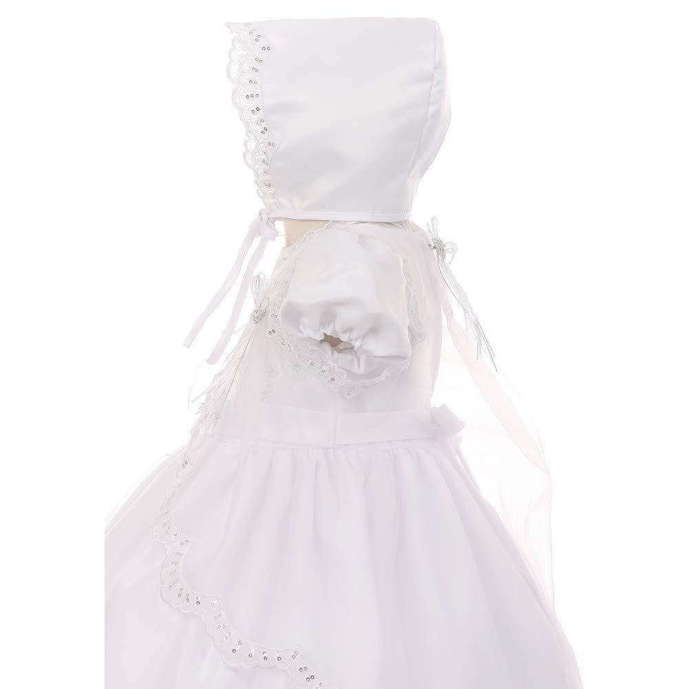RainKids Baby Girls White Lace Bow Organza Cape Hat Dress Baptism Set 0-24M