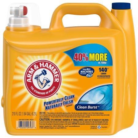 Arm & Hammer 33200-00106 Dual HE Liquid Laundry Detergent Clean Burst 210 oz (Pack of 2) (2 Pack(420 fl oz))