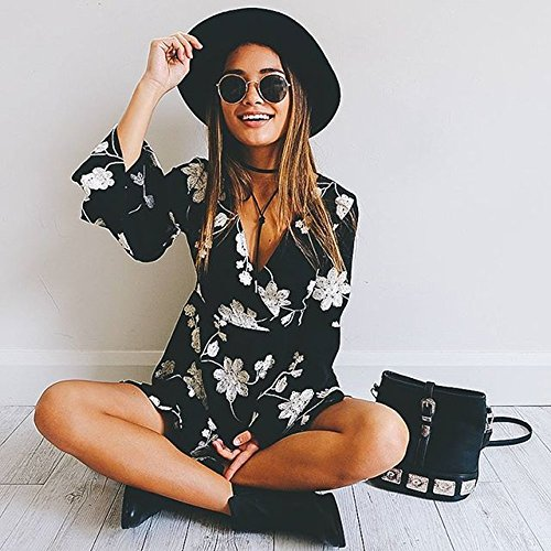 43ae51ab32ac Young17 Flare Long Sleeve Boho Floral Printed Sexy V Neck Black ...