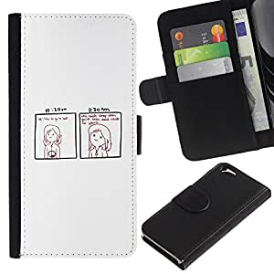 YiPhone /// Tirón de la caja Cartera de cuero con ranuras para tarjetas - Divertido Dead Inside COMIC - Apple Iphone 6