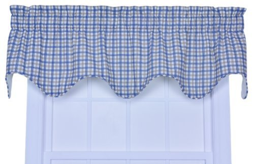 Ellis Curtain Bristol Collection Two-Tone Plaid Lined Scallop Valance Curtain