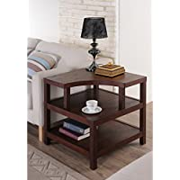 Contemporary/Vintage Valencia Open Shelf End Table Made From Mdf, Veneer, and Wood with Ample Shelf Storage, Perfect in Stowing Away Magazines, or Miscellaneous Items It Comes in Vintage Walnut Finish