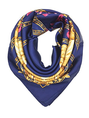 Wrap Hair Your - YOUR SMILE Silk Like Scarf Women's Fashion Pattern Large Square Satin Headscarf Headdress,Navy (9)