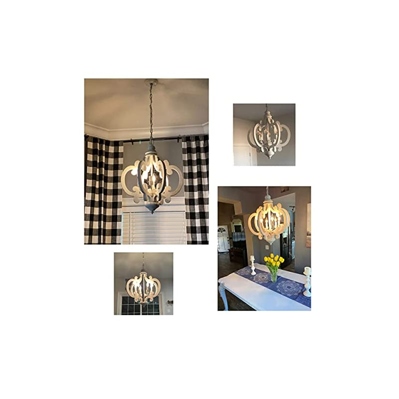 Farmhouse Chandelier French Country Pendant Light, Distressed White Wood Chandelier Light Fixture with 6 Candle Light…