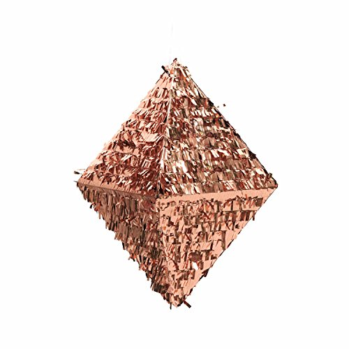 Andaz Press Rose Gold Champagne Copper Foil Fringe Pinata, 18-inch, Diamond, 1-Pack