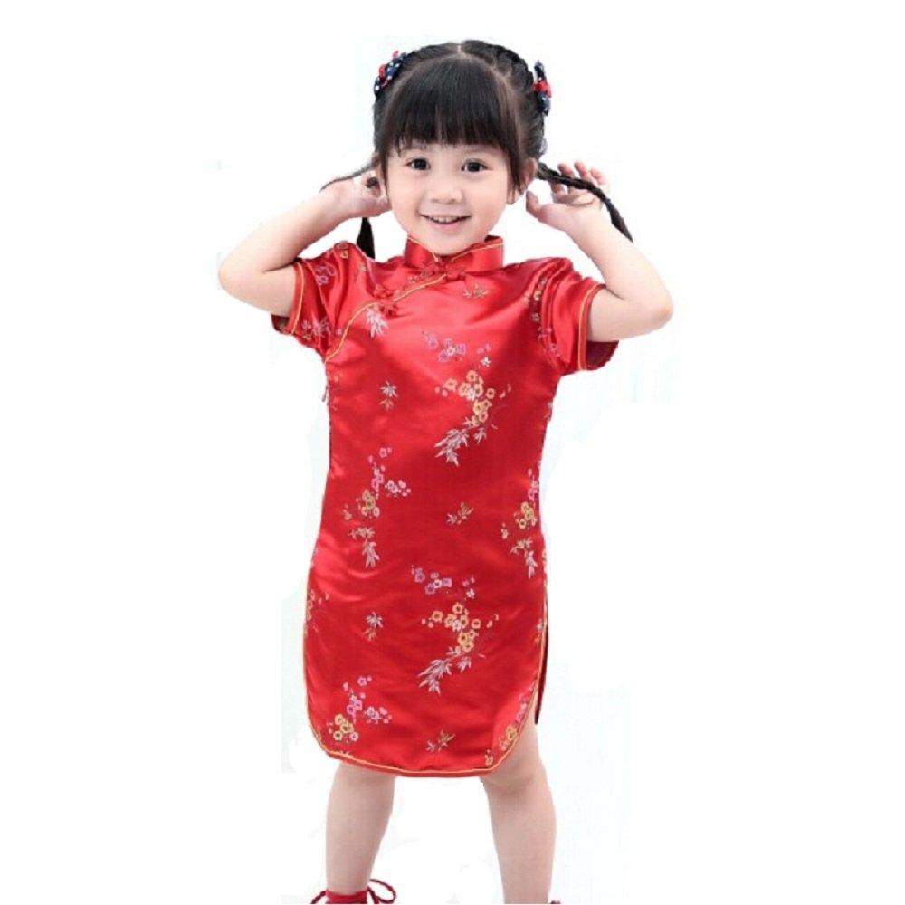 Hooyi Qipao Baby Girl Bamboo Cheongsam Children Dress Infantis Chi-pao