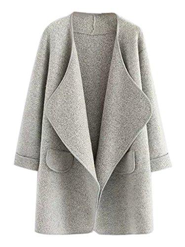 CR Women Gray Lapel Open Front Pocket Detail Long Sleeve Knit (Pocket Detail Long Sleeve)