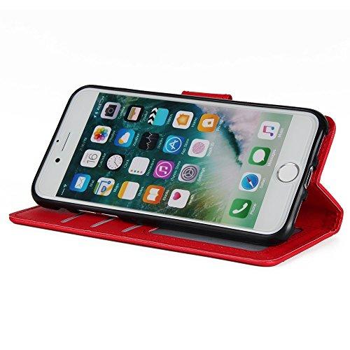 SRY-Bolsa para teléfono móvil Horizontal cubierta de la caja del soporte del tirón con efectivo y ranuras de la tarjeta y acollador y suave TPU Interio contraportada para para el iPhone 7 ( Color : Wi Red