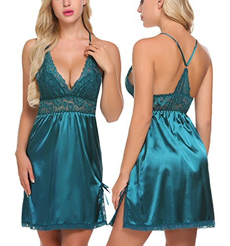 ADOME Women Lingerie Lace Babydoll Chemises V Neck Nightwear Satin Sleepwear Slips, Style 1-dark Green, Large (Chemise V-neck Satin)