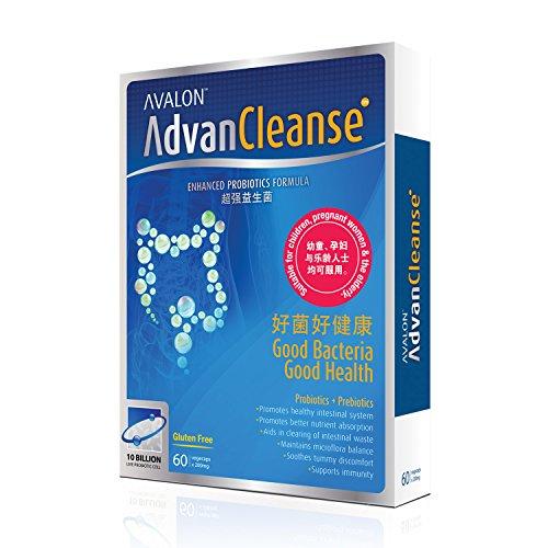 AvalonTM AdvanCleanse Probiotic Detox • 10 Billion Live Probiotic Cells + Prebiotics • GMP certified • Suitable for Vegetarians • 60 Veggie Capsules