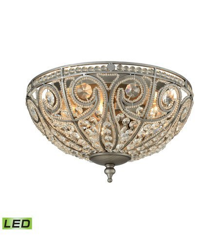 Flush Mounts 3 Light LED with Weathered Zinc Finish Candelabra 13 inch 15 Watts - World of Lamp