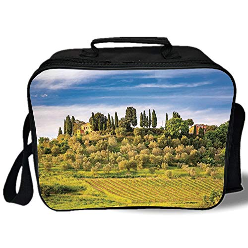 Tuscan 3D Print Insulated Lunch Bag,Green Field Tranquil Landscape Retro Stone Toscana Farmhouse Vineyard,for Work/School/Picnic,Blue Green and Khaki