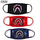 (US) NF orange 3 Pack Shark Black Red Blue Mouth Face Mask Cotton Mouth-Muffle