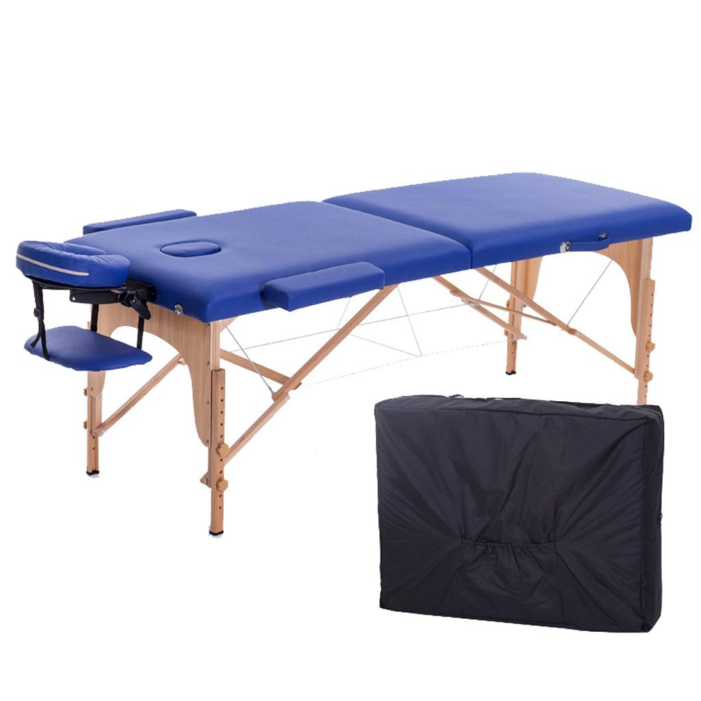 Folding Massage Table Professional Massage Bed 2 Fold with Additional Accessories Treatment (Color : Blue) by ZP massage